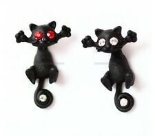 CUTE BLACK CAT KITTY KITTEN WHITE CZ EYES STEAM PUNK GOTH ROCK EARRING GIFT