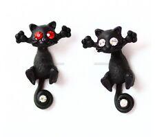 CUTE BLACK CAT KITTY KITTEN CZ EYES RED PUNK GOTH ROCK EARRING CHRISTMAS GIFT