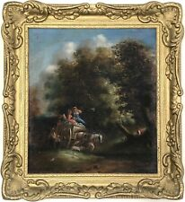 Travellers in Wooded Landscape Antique Oil Painting 19th Century British School