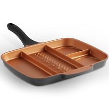 VonShef 4-in-1 Divided Skillet Breakfast Grill Pan - Non-Stick Copper Induction