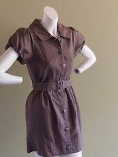 SPICYSUGAR CHOCOLATE BROWN LINEN LOOK DRESS, BELT, SLEEVES, BUTTON FRONT SIZE 12