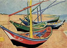 Ancienne carte postale d'art-V. Van Gogh-Les Braques du PECHEURS DE LES SAINTES MARIES