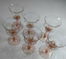 VINTAGE Sherry Glasses  pink glass stem, delicate. X6