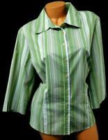 Apt. 9 green white 3/4 sleeve women's plus size button down striped top 1X