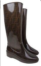 FENDI Zucca Logo Print Brown Tall Wedge Heel Rainboot Size 38 US 8 Women