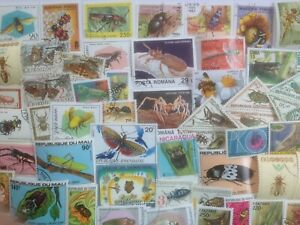 50 Different Insects/Bugs on Stamps Collection