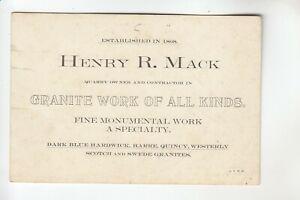 Business Card HENRY R. MACK Granite Work of all Kinds Hardwick VT
