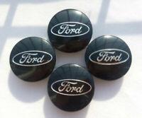 4 Black Center Wheel Hub Caps For Ford Focus Fusion Fiesta Edge Escape Cmax 54mm