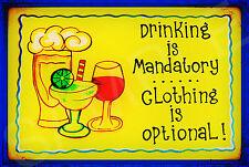 *DRINKING MANDATORY* VIVID METAL SIGN 8X12 CLOTHING OPTIONAL POOL BAR HAPPY HOUR