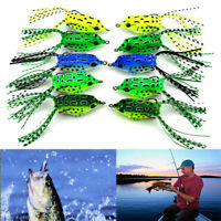 5Pcs Fishing Lures Large Frog Topwater Crankbait Hooks Bass Bait Tackle