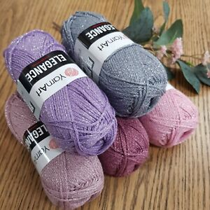 YarnArt Elegance Metallic Glitter Cotton Yarn 50g Balls  choose colour