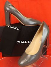 CHANEL G31655 Gray Distressed Leather CC Logo Cap Toe Silver Heel PUMPS 38