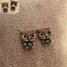 Special Lady Jewelry Gift Vintage Stud Owl Rhinestone Crystal Cute Ear  Earrings