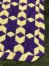 "VTG Quilt TOP Handmade 6 Point Star Polyester Yellow Purple 62"" x 66"" EUC"