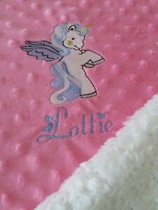 Personalised  Dimple  Fleece Baby Blanket Unicorn Extra Thick Luxury Minky