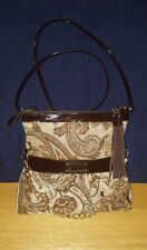Designed in NY by Sharif 1827 Brown Tapestry Clutch Crossbody Shoulder Purse