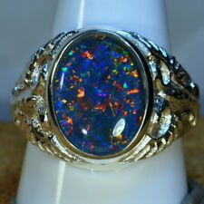GENUINE AUSTRALIA OPAL BIG HEAVY MANS SOLID 925 STERLING SILVER  RING 15645