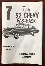 Pyro '52 Chevy Fas-Back 1:32 Scale Table Top Series Model Kit Instruction Sheet