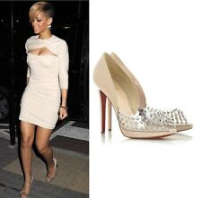 Christian Louboutin 120 Engin PVC and nude leather spiked pumps! SIze 37!
