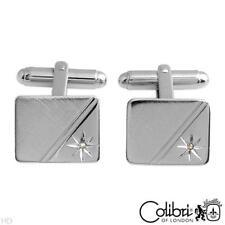 Colibri Diamond Collection Cuff Links, Genuine Diamond, Designed in Silver Plate