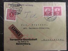 1933 Reichenberg Czechoslovakia Express Cover To Germany
