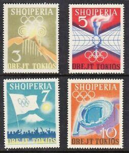 Albania 1964 MNH 4v No Gum, Olympic Game Tokyo Torch Globe Flag Sports