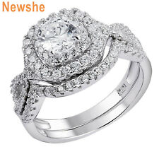 Sterling Silver Round Aaa Cz Sz 7 Newshe Engagement Wedding Ring Set 1.8ct 925