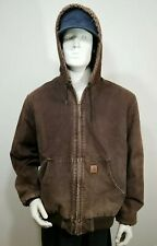 CARHARTT J130 BKB Quilted Lined Duck HOODED Jacket Large TALL needs zipper pull