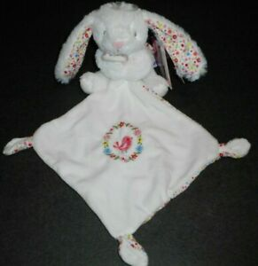 Doudou Lapin Blanc Mouchoir Blanc Couronne Fleur Oiseaux Pommette Neuf  2 Dispo