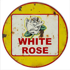 Yellow Reproduction White Rose Motor Oil Sign 14 Round