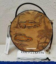 Brahmin Lane Copa Cabana Tan Tropical Leather Canteen Crossbody Bag