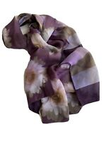 Vintage Anne Klein Silk Scarf Long Purple Patterned Rectangle Wrap Shawl