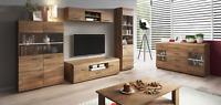 Living room furniture set glass cabinet Tv unit stand display LED lights shelf