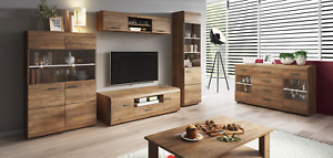 LIVING ROOM SET DISPLAY UNIT TV CABINET LED LEFKAS OAK WOOD EFFECT GLASS MODERN