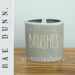 NEW Rae Dunn Bathroom Toothbrush Holder ~ BRUSHES ~ Farmhouse ~ Gray/Grey