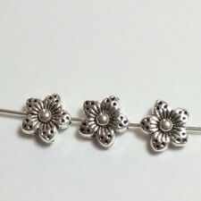 10pcs Antique Silver Flower Beads Metal Spacers Jewellery Supplies 9mm B02202