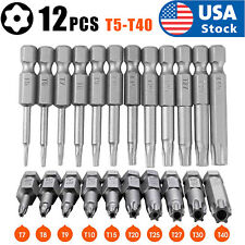 12 Pcs 50mm 14 Inch Hex Shank T5 T40 Torx Head Screw Driver Bits Set Kit Tools