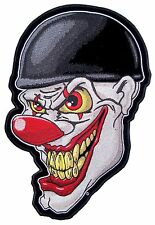 Medium Crazy Evil Clown Face Wearing Turtle Shell Helmet Embroidered Biker Patch