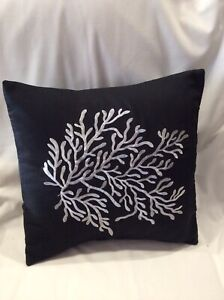 PACK OF 2 X BLACK WITH WHITE CORAL DECORATION  CUSHION COVERS  40cm X 40cm