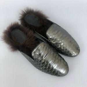 Brunello Cucinelli Ladies FUR PYTHON Leather Slipper Loafer Pumps Sandal Size 37