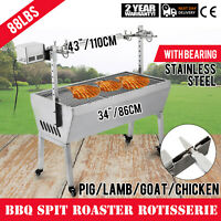 42'' 88 Lbs Stainless Lamb Roaster Rotisserie Spit Cooker Charcoal Pig Goat