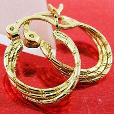 FS580 GENUINE REAL 18K YELLOW G/F GOLD SOLID CLASSIC ITALIAN TWIST HOOP EARRINGS