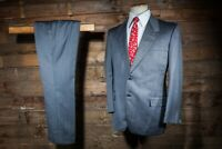 BESPOKE CANVASSED SUIT 42S 34W 31L GREY STRIPED WOOL COLEMAN & SON