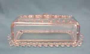 Vintage Clear Glass Crystal Hobnail Accent Covered Butter Dish