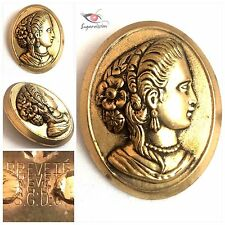 """Antique Scarf Clip Signed BREVEIÈ S.G.D.G. Gold Tone Cameo 2"""" Height With Pin"""