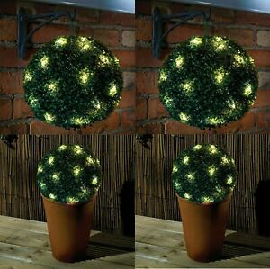 4 x 28cm Dual Function Solar Powered Topiary Garden Ball Sphere 20 LED Lights