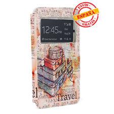 Funda  tap libro y gel Samsung G928 Galaxy S6 Edge PLUS dibujos viaje Vintage