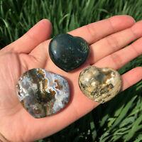 Natural Colorful Ocean Jasper Heart Crystal specimen Reiki healing 3pcs 60g+