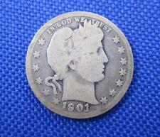 1901 SILVER U.S. BARBER QUARTER COIN