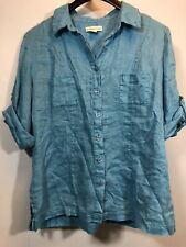 Coldwater Creek Linen Top Blue Large Petite Summer Blouse